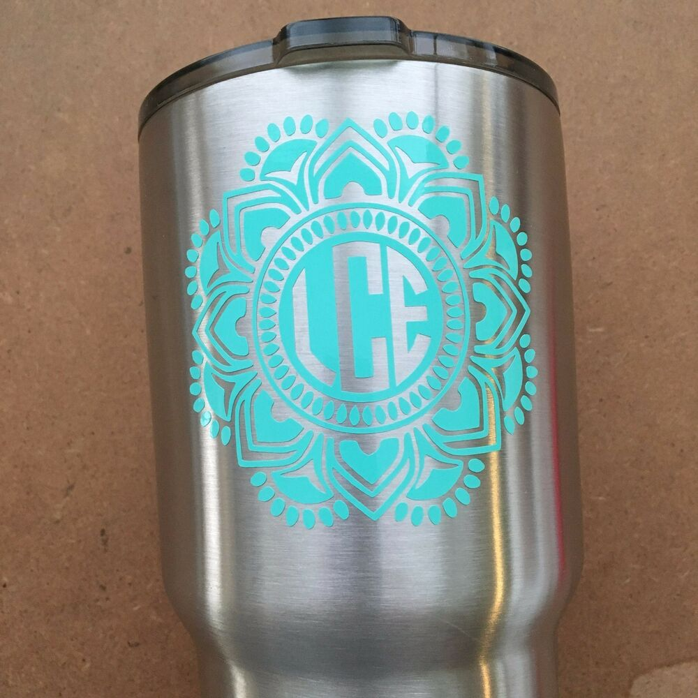 Personalized mandala monogram name yeti ozark rtic cup for Letter decals for cups