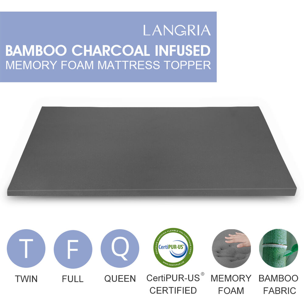 2 Comfort Bamboo Charcoal Memory Foam Mattress Pad Bed Topper Twin Full Queen Ebay