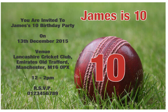 Invitation For Corporate Cricket Tournament: 10 Personalised Cricket Birthday Party Invitations / Thank