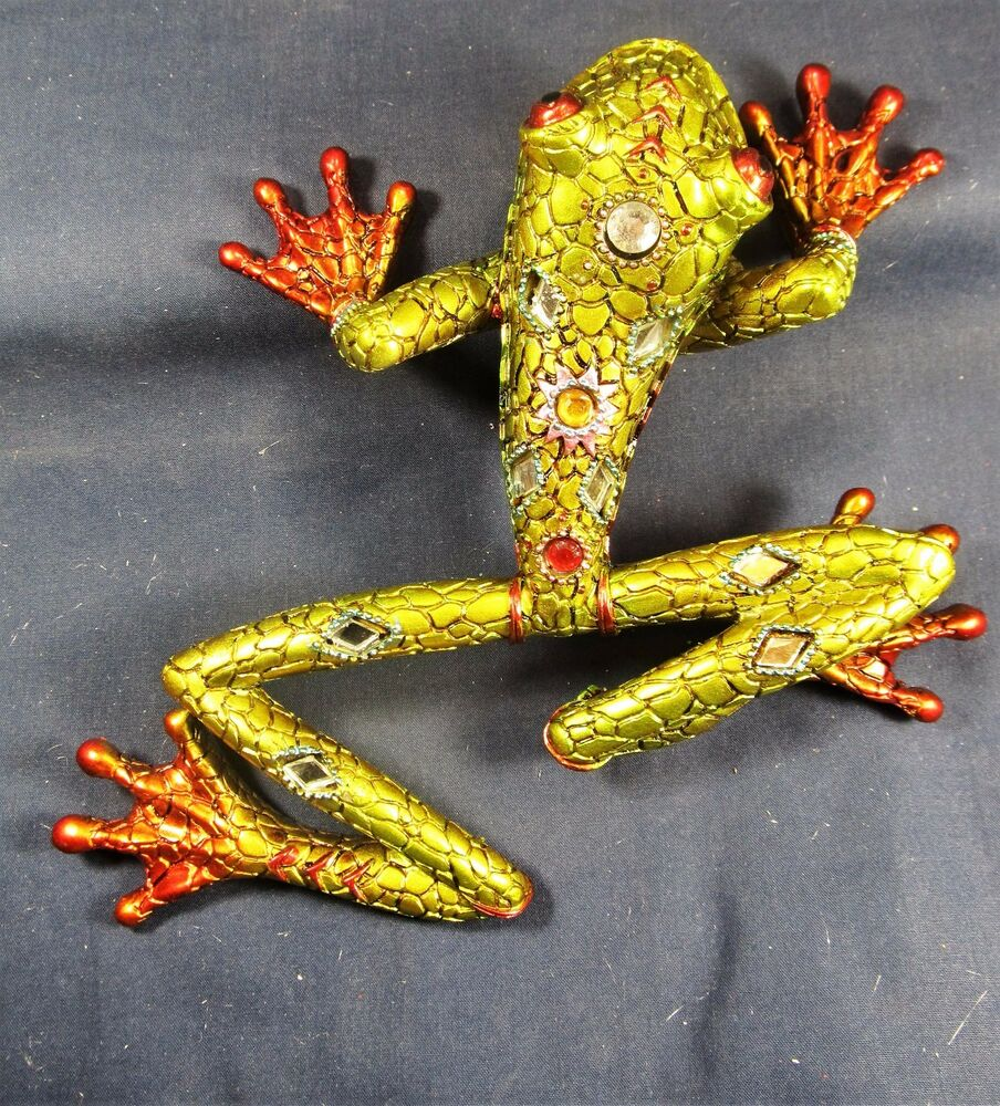 Frog Green w/acrylic jewels, mirrors resin amphibian wall art home ...