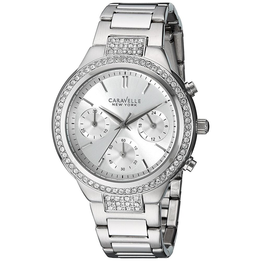 caravelle new york watch women 39 s 43l186 quartz chronograph crystal accents watch ebay