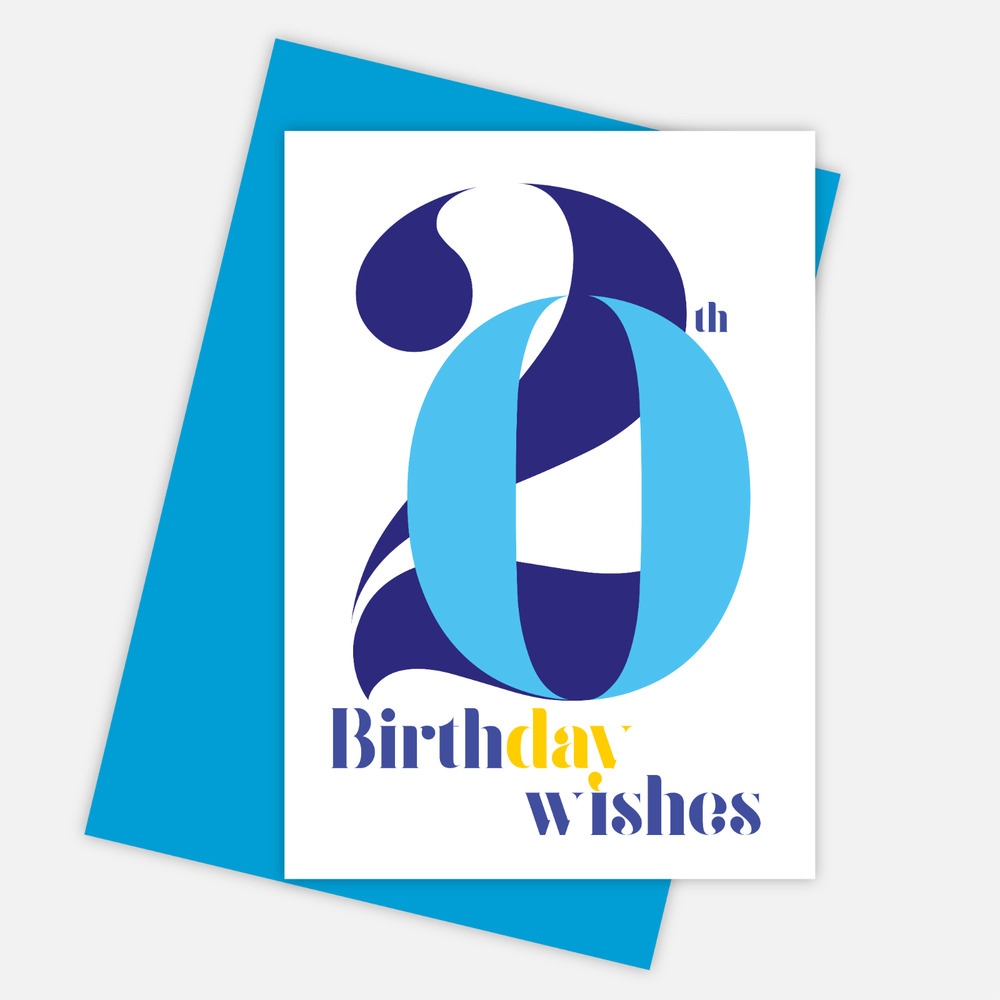 Details About 20th Birthday Wishes Card For Boy 20 Him Son Grandson Blue
