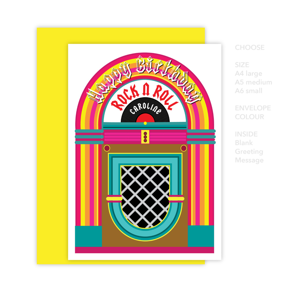 Details About Rock N Roll Happy Birthday Card For Her Him Edit Name 60s Retro Jukebox Design