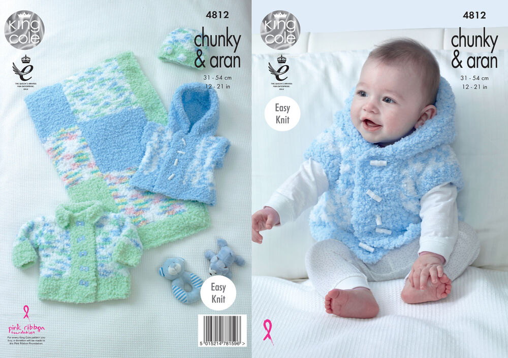 Easy Gilet Knitting Pattern : Easy Knit Baby Knitting Pattern Jacket Gilet Hat & Blanket King Cole Chun...