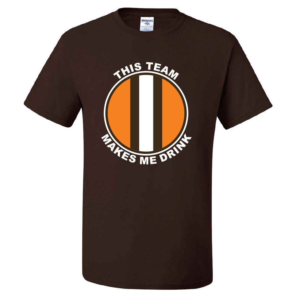 a96fb8fe9 ... Cleveland Browns T-shirt THIS TEAM MAKES ME DRINK funny football jersey  new Youth Nike ...