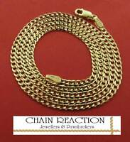 """375 SOLID 9CT GOLD 16"""" FLAT DIAMOND CUT LINK CURB CHAIN NECKLACE GIFT BOX"""