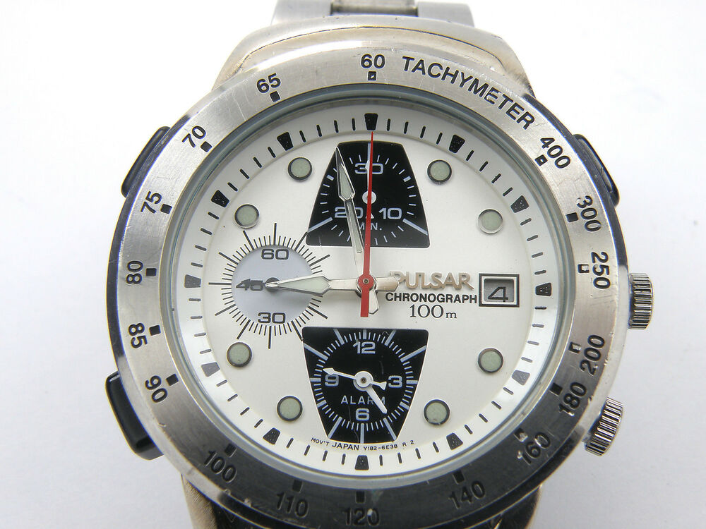 Men 39 s vintage pulsar nasa y182 6d10 analog quartz alarm chronograph watch 100m ebay for Astronaut watches
