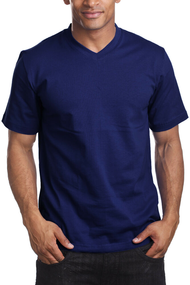 44851be0e82 Details about NAVY BLUE SHORT SLEEVE V-NECK T SHIRT V- NECK SHORT SLEEVE T  SHIRT PRO 5 6PACK
