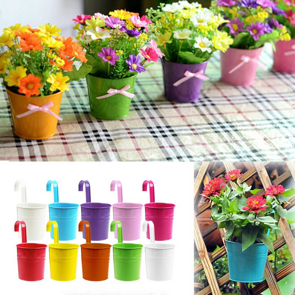 1 10x Metal Iron Flower Pot Hanging Balcony Garden Plant Planter Decorations GK
