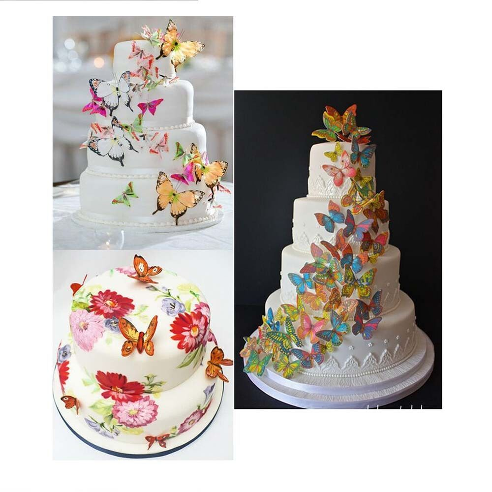 wedding cake edible decorations 20 pcs cake decoration glutinous rice paper butterfly 8636