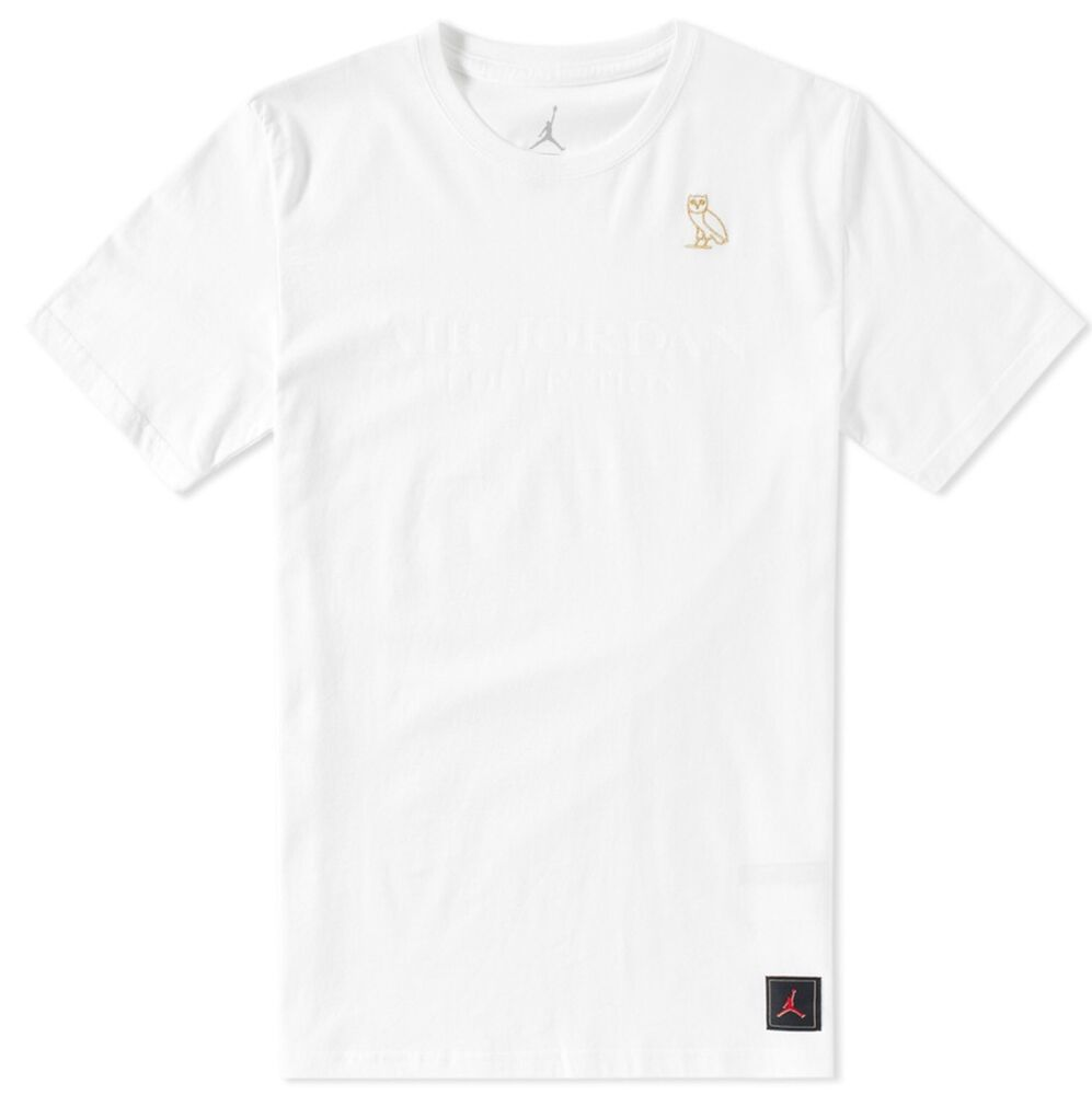 2db79ac5 Details about Nike Air Jordan X OVO Men's T-Shirt 'White Metallic Gold' (S)  826742 100