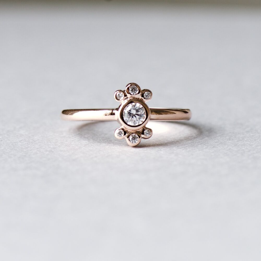 14k Rose Gold Plated Sterling Silver Dainty Ballerina Ring