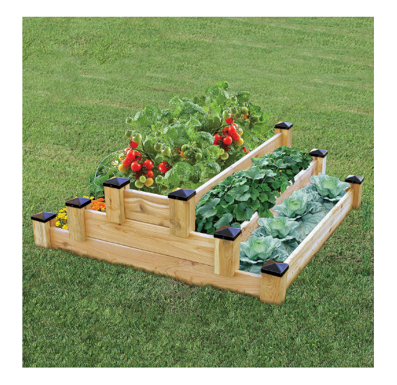 Rectangle Raised Flower Box Planter Bed 2 Tier Soil Pots: Tiered Raised Garden Bed Vegetable Gardening Beds Planter