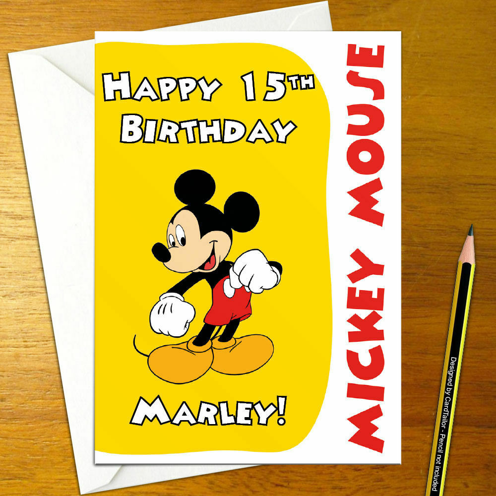 Details About MICKEY MOUSE Personalised Birthday Card