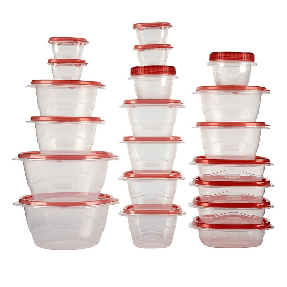 Food Storage Container Set Assorted Plastic Seal Lid 40 40