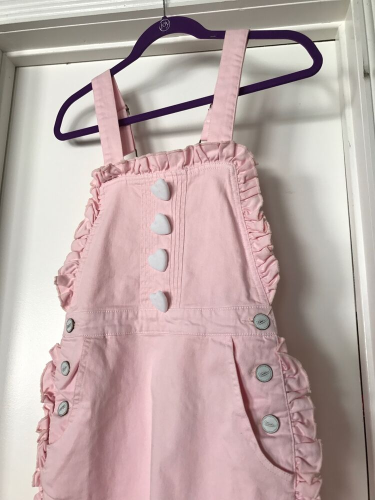 90d6fc050660b Details about Swankiss Pink Heart Button Ruffle Kawaii Denim Apron Dress  Jumper Overalls Dress