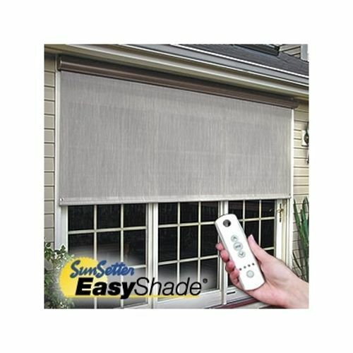 12 39 sunsetter motorized easyshade solar screen outdoor for Exterior motorized solar shades