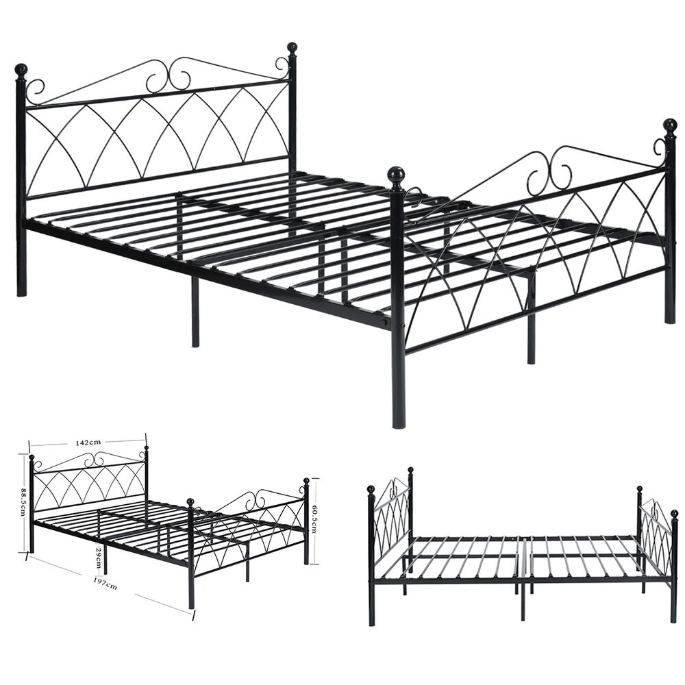 Full Size White Metal Platform Bed With Headboard And Footboard