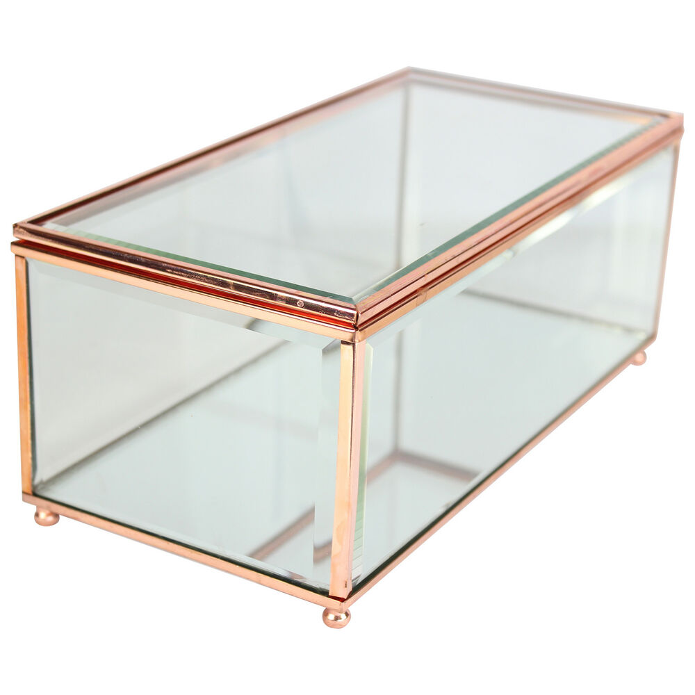 Copper Glass Clear Jewellery Box W Mirrored Base Transpa Curio