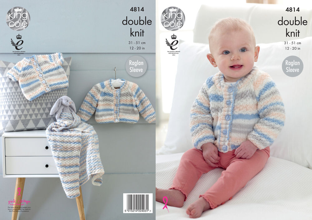 Baby Double Knitting Pattern Raglan Sleeve Cardigans Blanket King ...