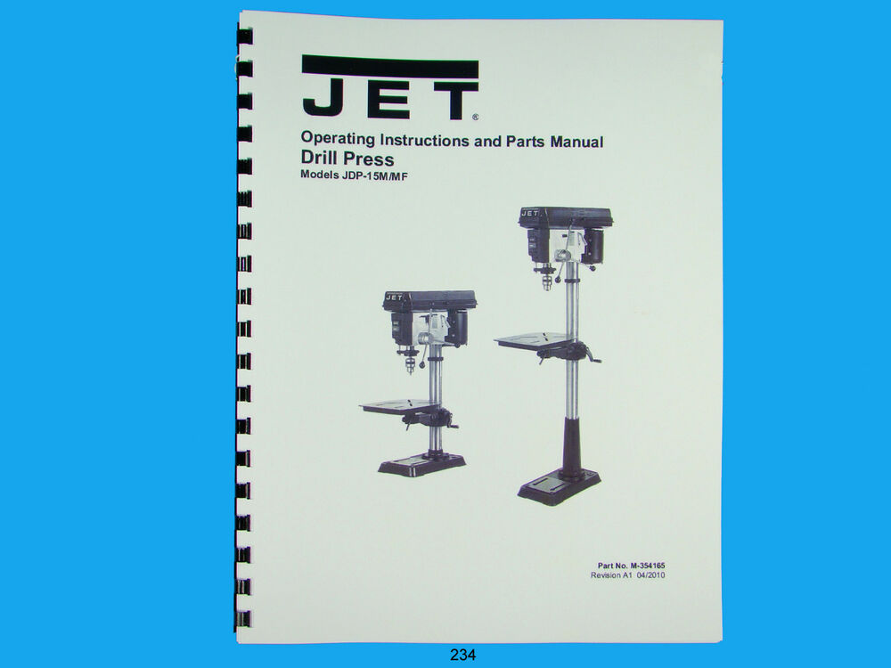 s l1000 jet jdp 15m mf drill press operator & parts list manual *234 ebay  at bakdesigns.co