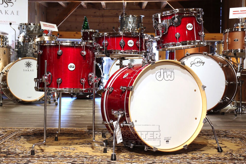 dw design frequent flyer 4pc drum set cherry stain lacquer ebay. Black Bedroom Furniture Sets. Home Design Ideas