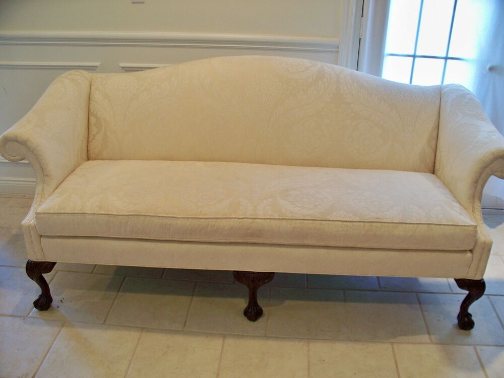 Vintage Sherrill Queen Anne Loveseat Sofa Settee Shell Carved Legs Ebay