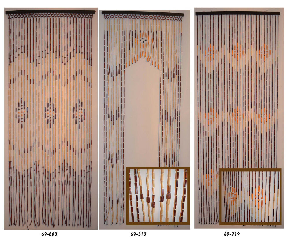 natural bamboo wood beaded door curtain ebay. Black Bedroom Furniture Sets. Home Design Ideas
