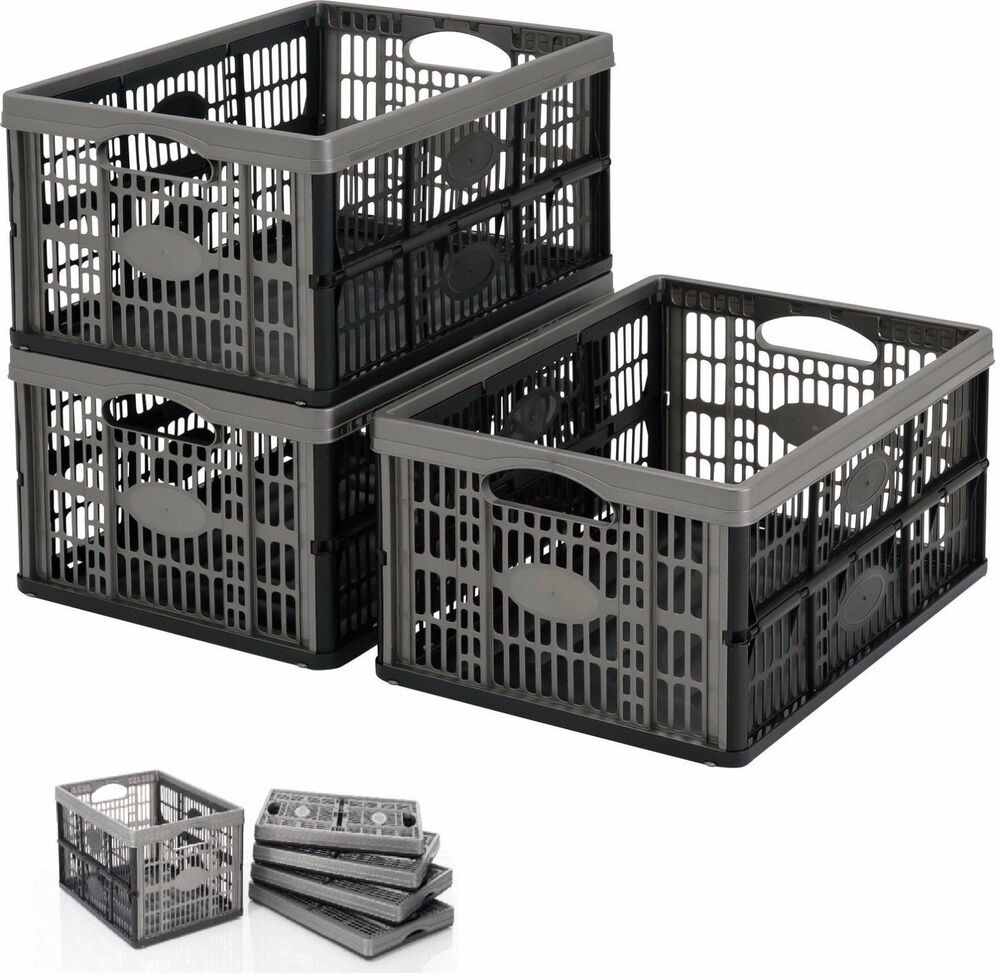 Collapsible 32 Litre Plastic Storage Crate Box Stackable