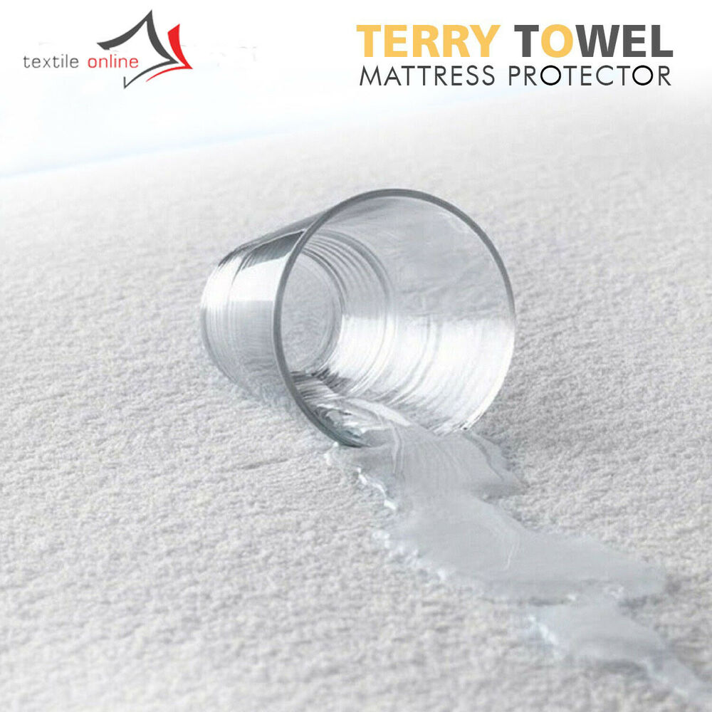 Details about WATERPROOF TERRY TOWEL MATTRESS PROTECTOR FITTED SHEET COVER  SINGLE 8f759a1d2