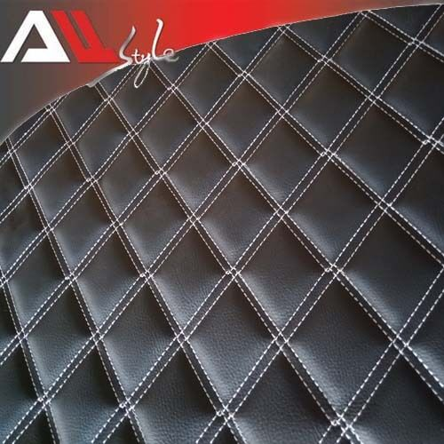 Car white stitching diamond quilted black faux leather upholstery fabric 2mx1 5m ebay for Car interior upholstery fabric