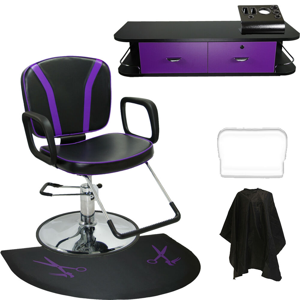 Barber chair black purple mat wall mount styling station for Salon furniture makeup station