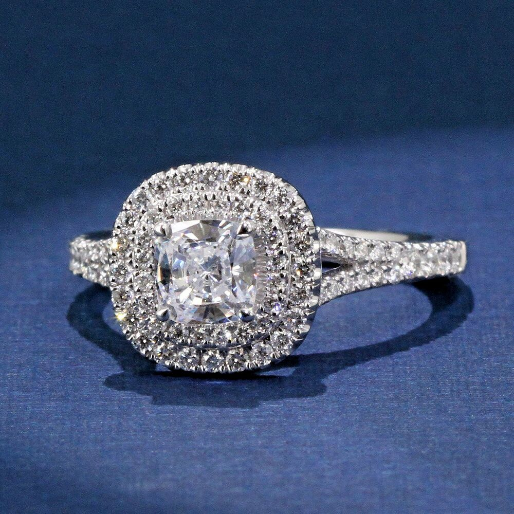 Double Halo Cushion Cut Enement Ring | Stunning Double Halo Cushion Cut Engagement Ring A Jaffe Style