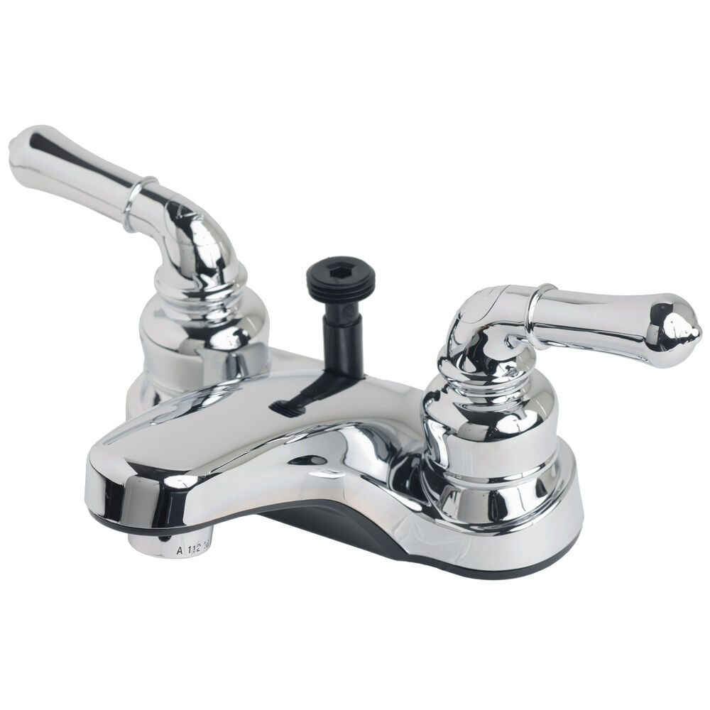 Rv bathroom centerset lavatory faucet with hand shower for Bathroom faucet finishes