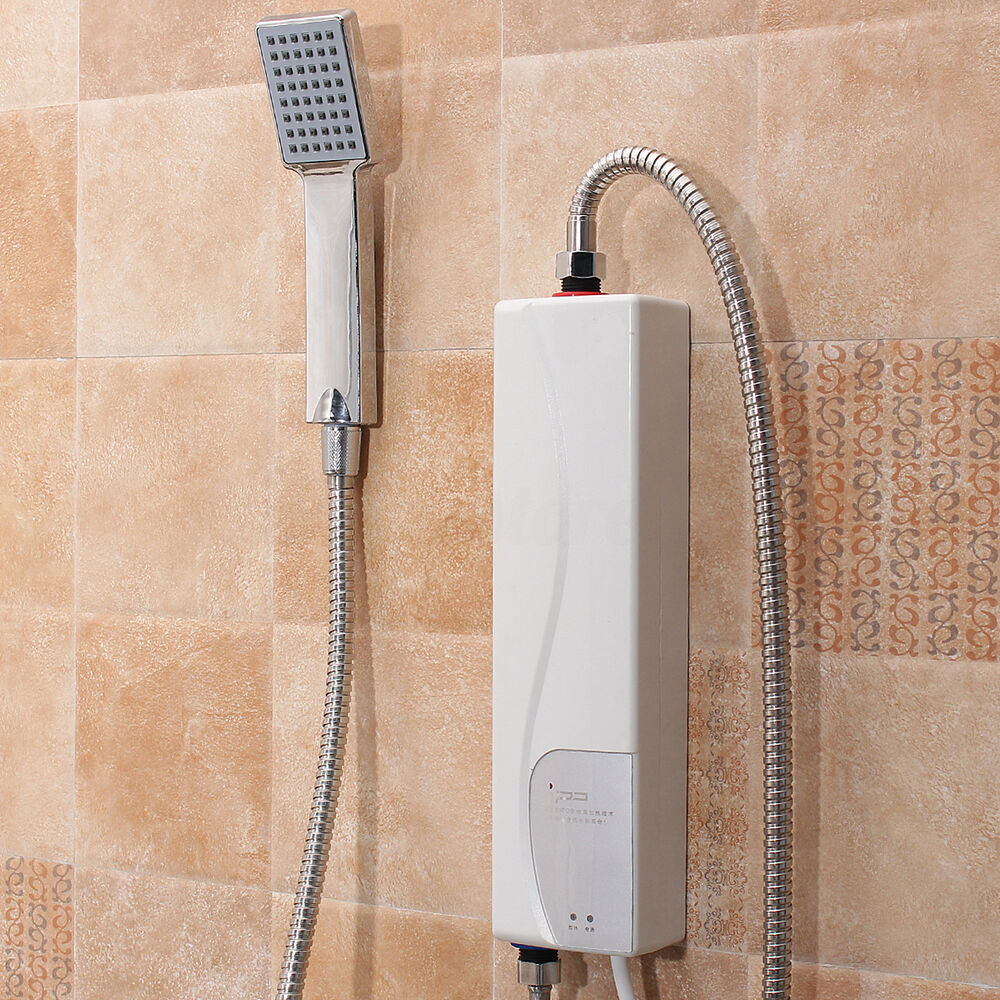 3000w portable tankless electric shower instant kitchen bathroom water heater ebay for Tankless water heater for bathroom