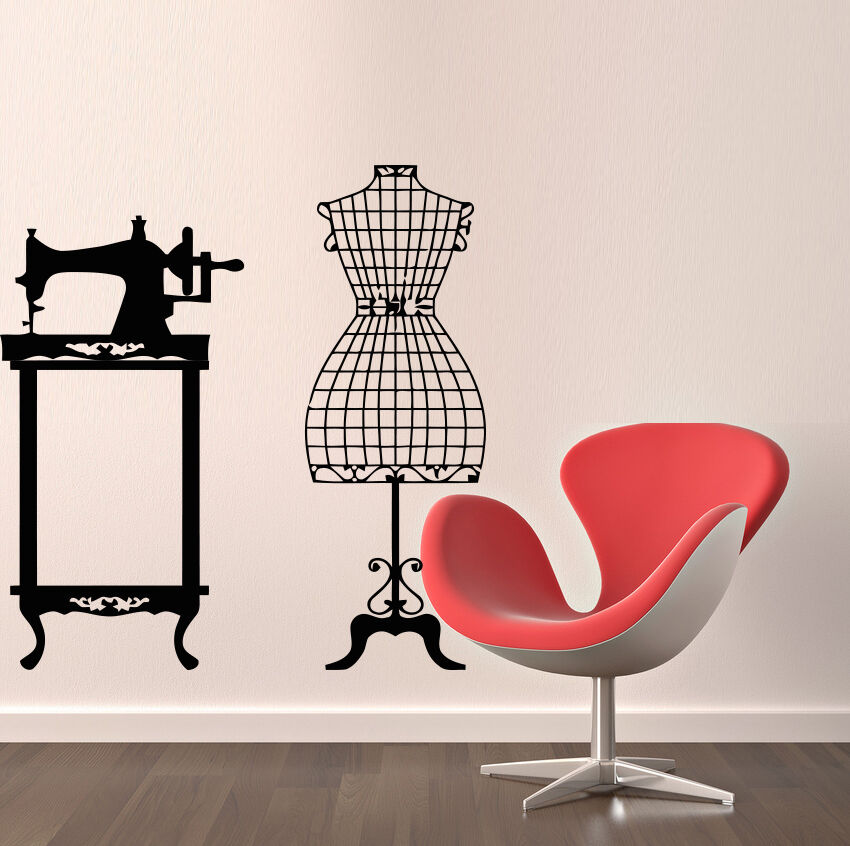 Wall Decals Sewing Machine Mannequin Decal Vinyl Stickers