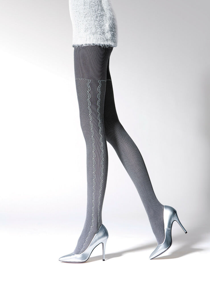74a8242aceec3 Details about White Grey 3D System Luxury Patterned Autumn Thicker Tights  Pantyhose T41