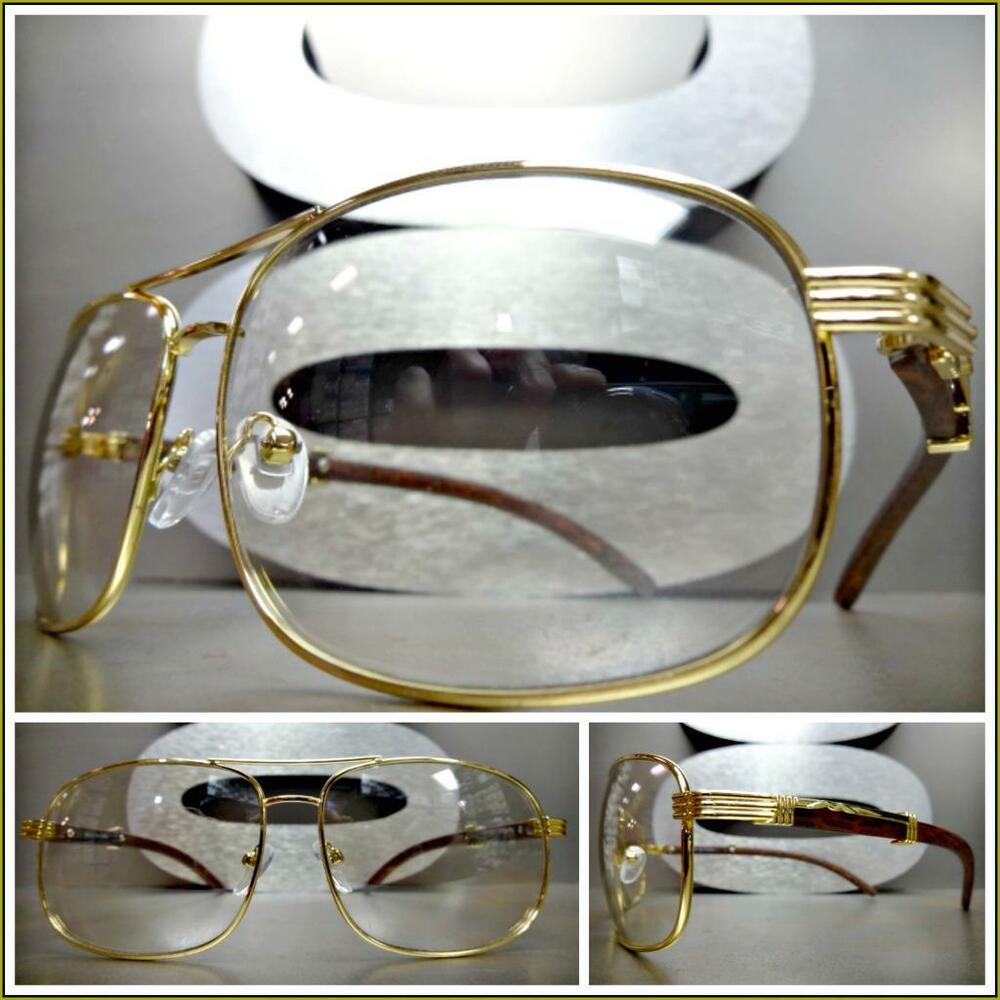 69d9b1fb016f Details about Mens CLASSY Style Clear Lens EYE GLASSES Gold   Wood Wooden  Effect Fashion Frame