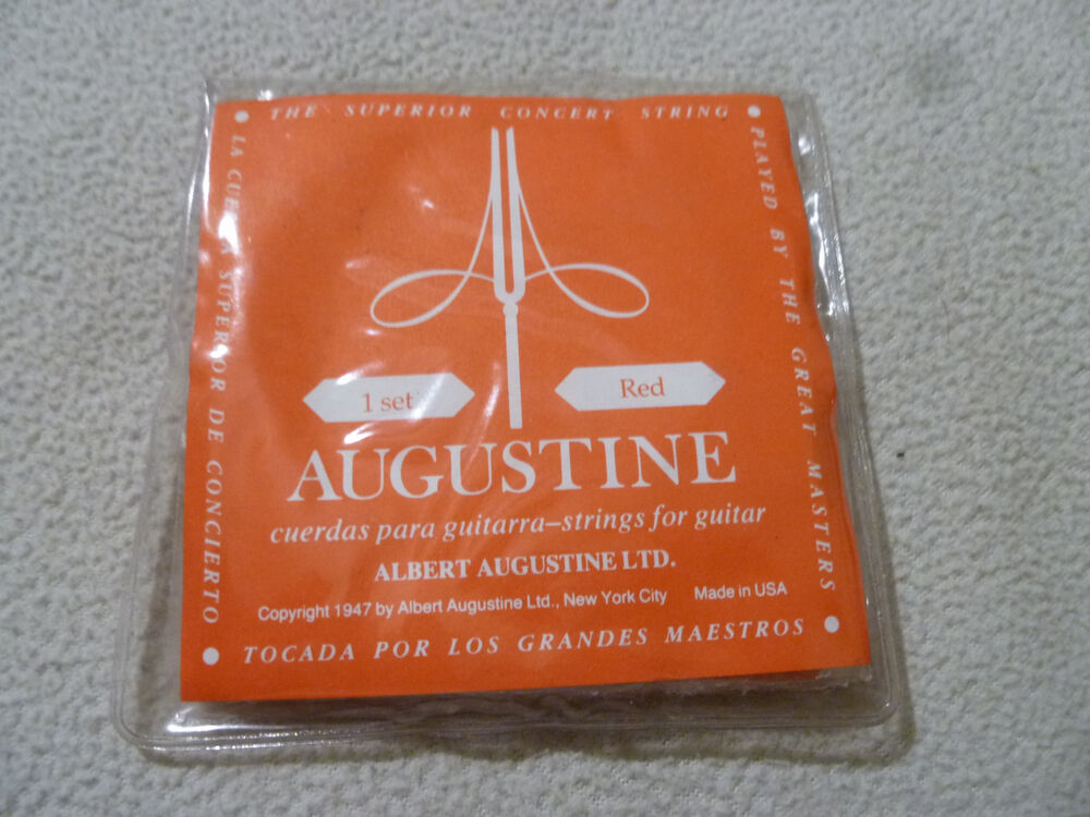 49b8d4bfbe2f6 Details about NEW AUGUSTINE RED GUITAR STRINGS STRING 1 SET SUPERIOR CONCERT  STRING C.1947 USA