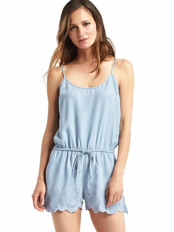 343018d6062c Details about Gap Women s Tencel Embroidered Cami Romper Size XL