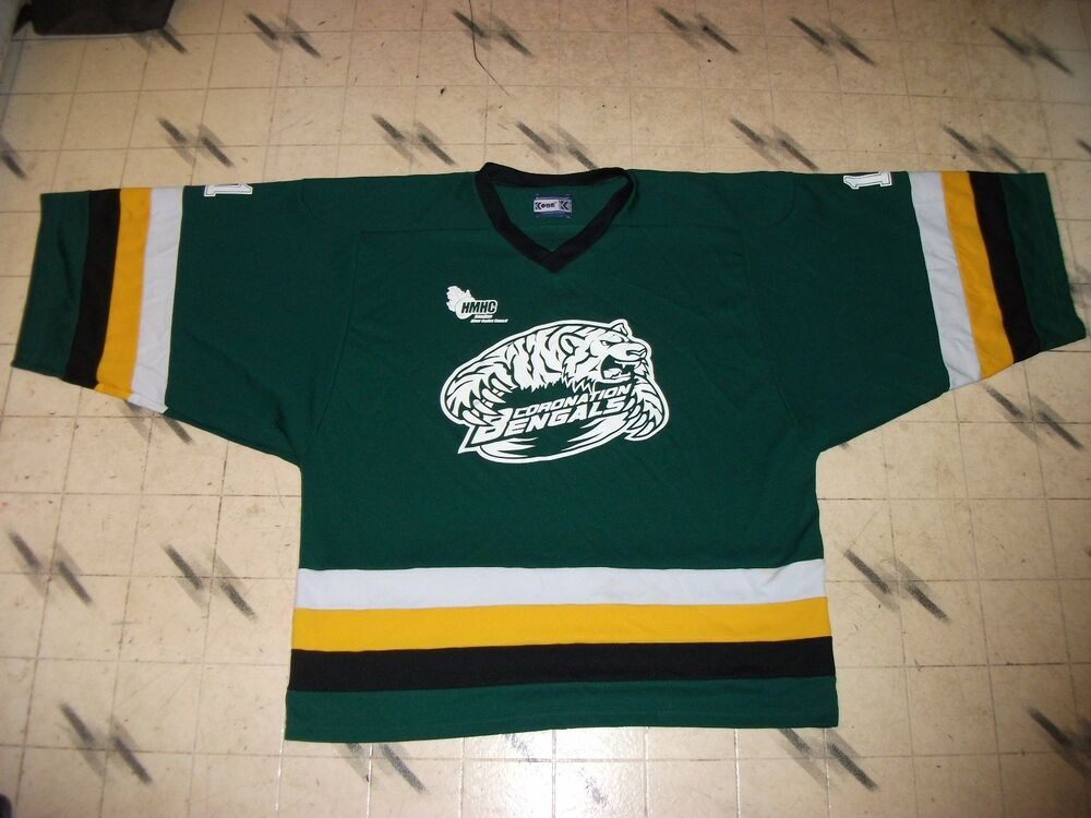 54fd324f789 Details about CORONATION BENGALS CANADIAN MINOR LEAGUE HOCKEY GOALIE CUT  GAME USED JERSEY 58 G
