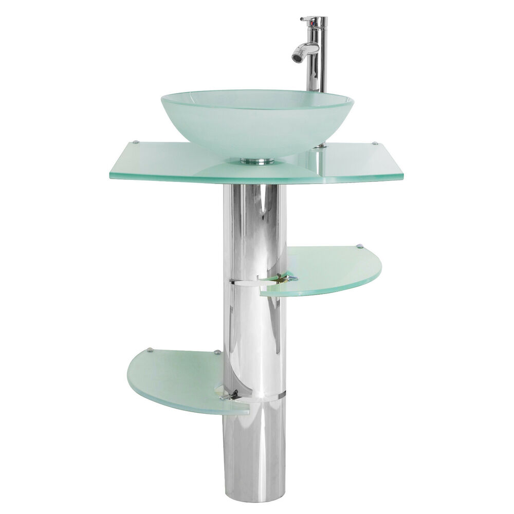 Bathroom Vanity Pedestal: Modern Bathroom Vanities Pedestal Vessel Glass Furniture