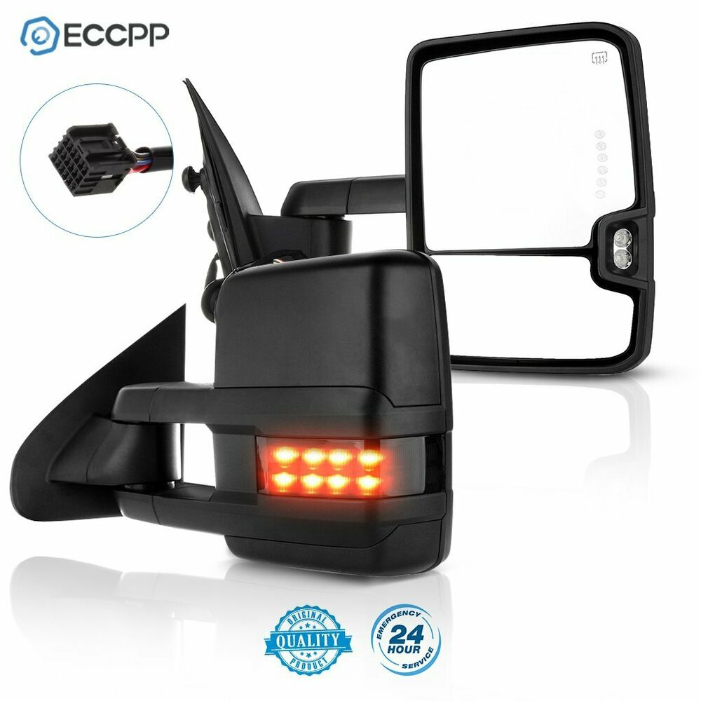 14 18 Silverado Sierra Black Towing Mirrors Power Heated Smoke Led Truck Wiring Diagram Turn Signals 723610001822 Ebay
