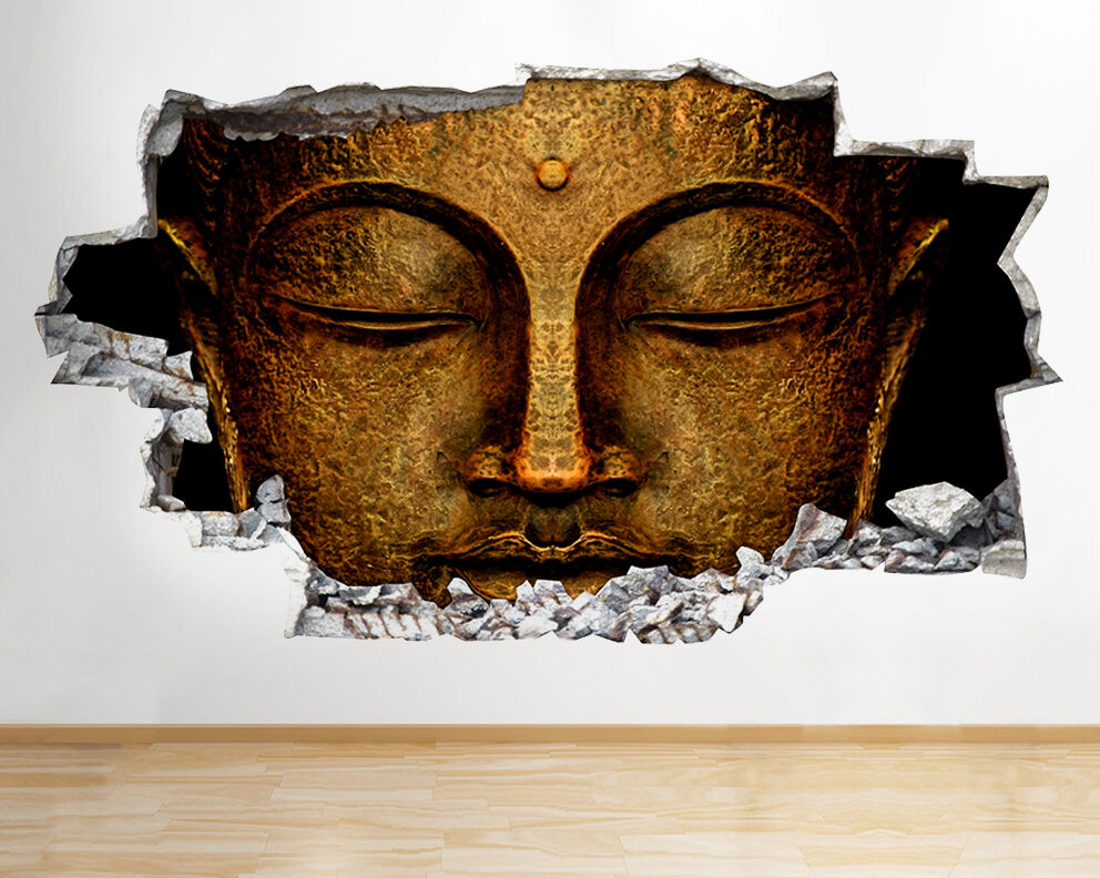 r502 buddha head god gold bedroom smashed wall decal 3d art stickers
