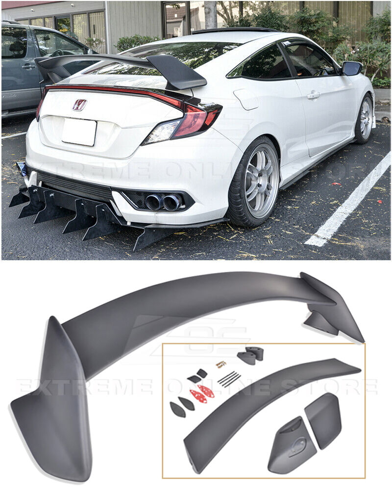 Type r style rear trunk wing spoiler body kit for 16 up for Honda civic trunk