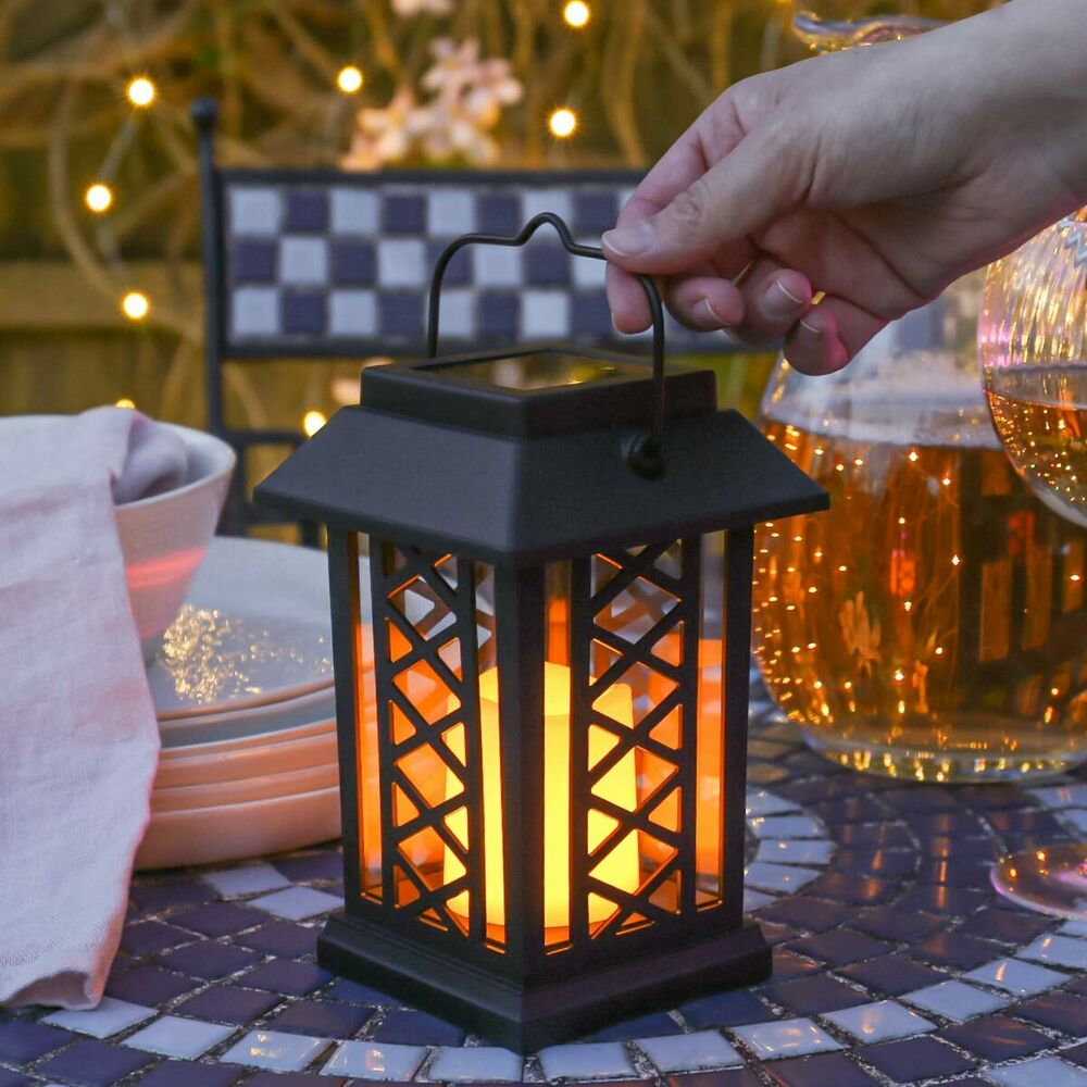 Solar Garden Light Lantern: Solar Power Flameless LED Candle Lantern Lights