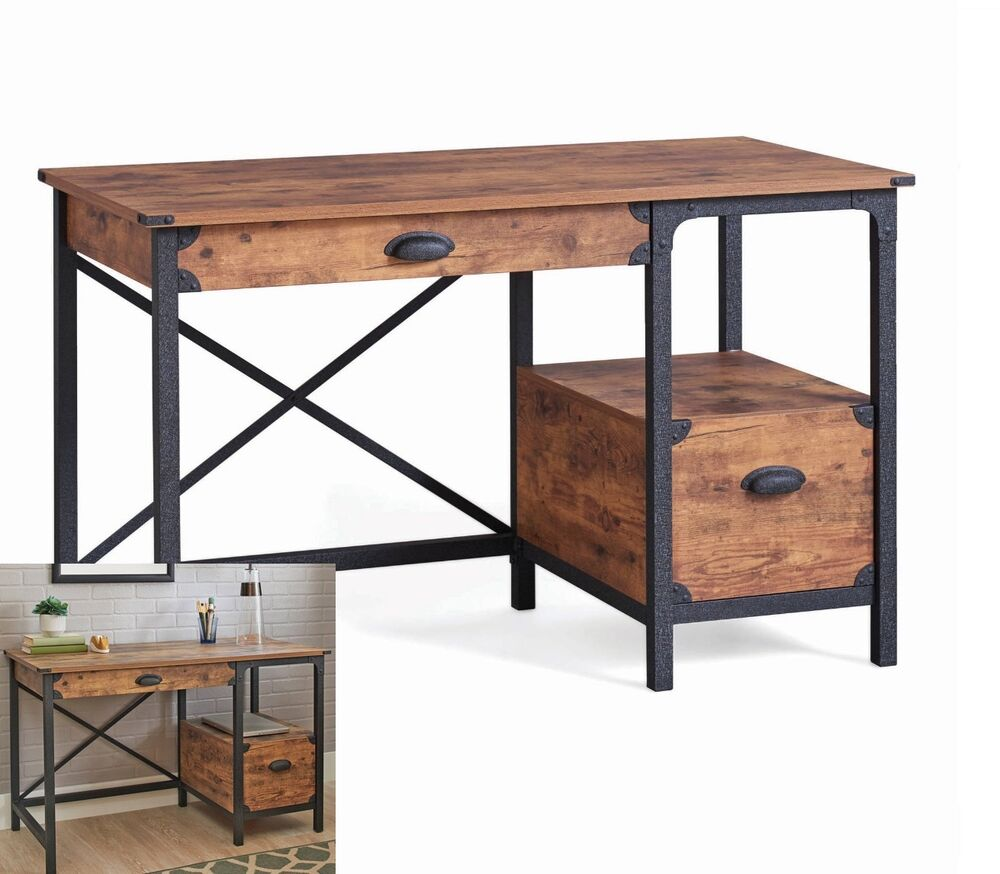 rustic antique writing desk small home office table pine wood metal drawer small 630299493506 ebay. Black Bedroom Furniture Sets. Home Design Ideas