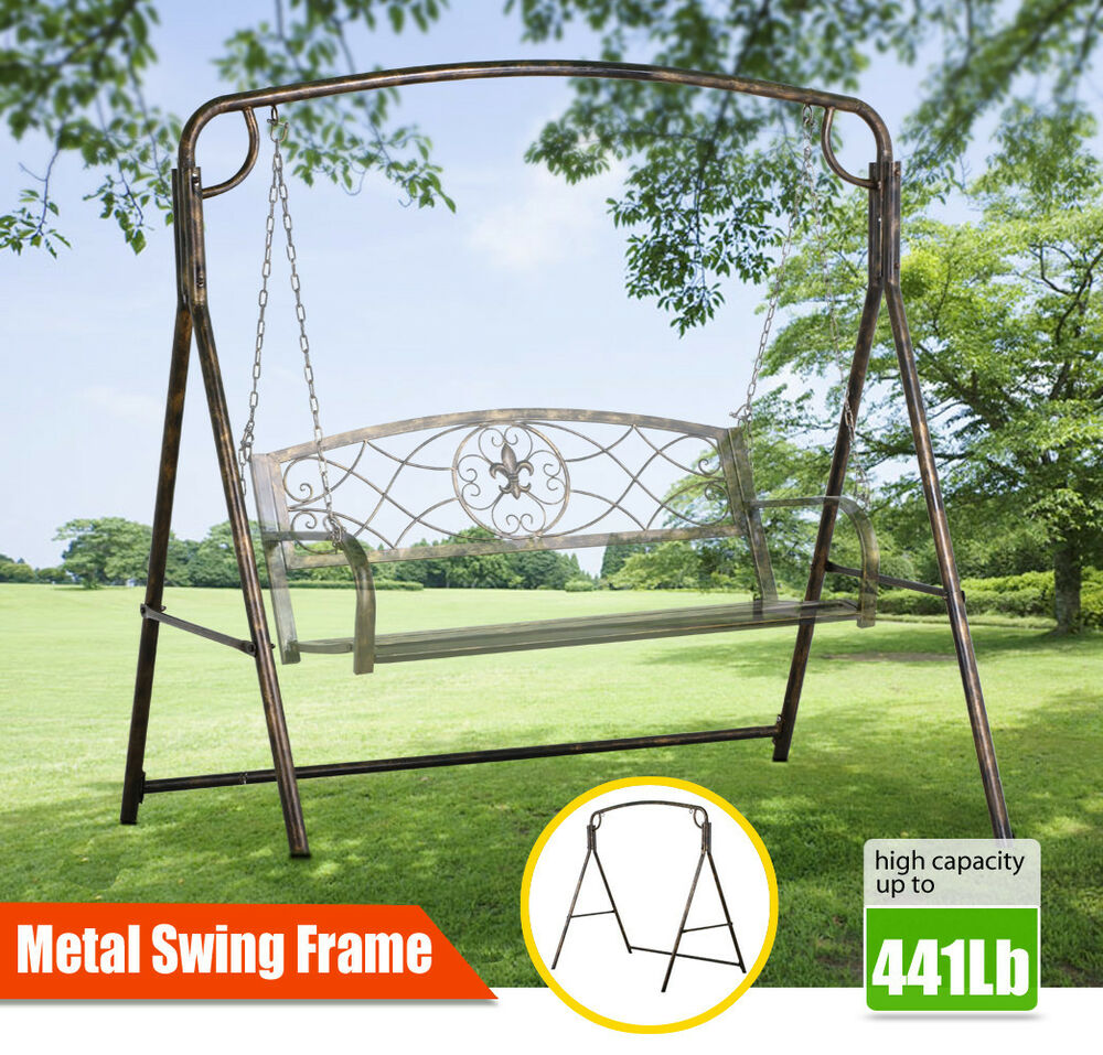 Hanging Swing Frame in Bronze Finished Outdoor Metal A Stand Swing ...