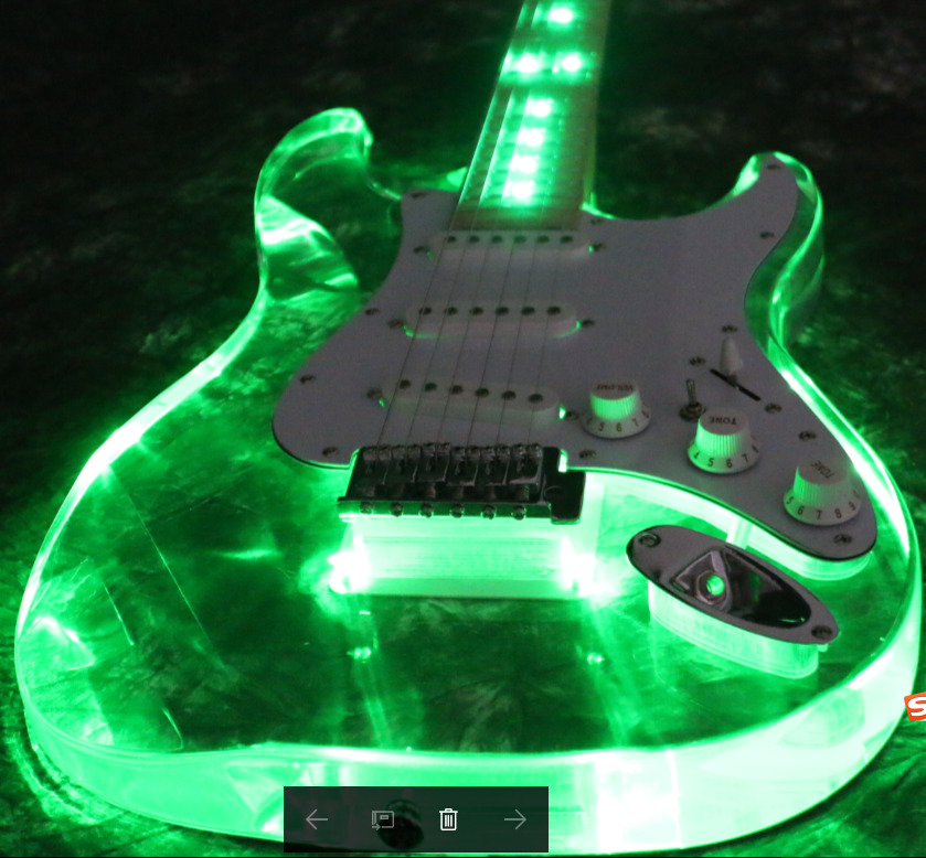starshine top quality led glow light electric guitar acrylic body crystal guitar ebay. Black Bedroom Furniture Sets. Home Design Ideas