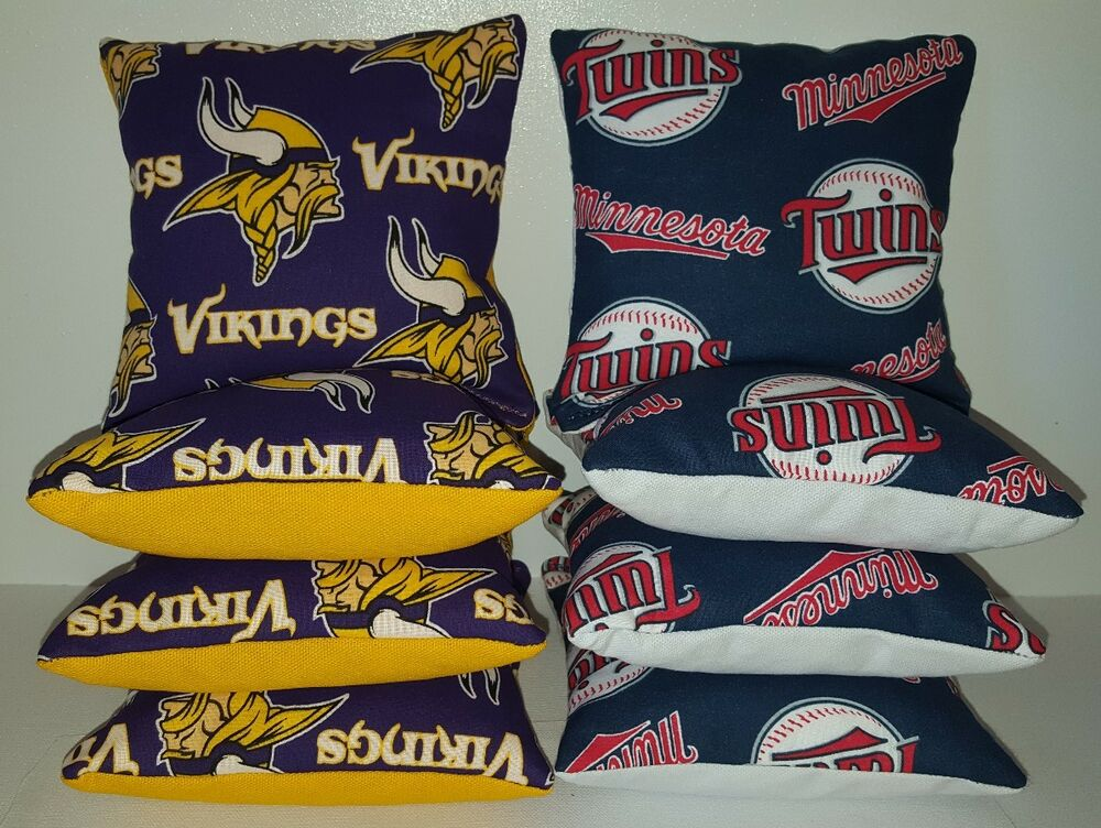 Set Of 8 Minnesota Vikings Twins Cornhole Bean Bags